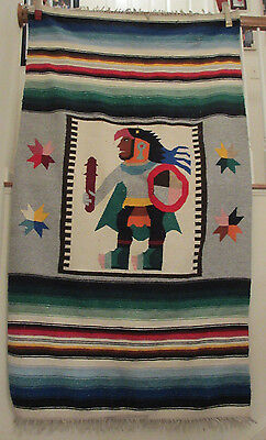 """Hand Woven Mexican Blanket 75""""x44"""" Aztec Eagle Warrior South American Tapestry"""