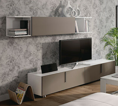 Mueble TV multimedia completo de salon comedor color basalto y blanco brillo