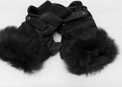 Fingerless gloves ...100% leather/suede....with raccoon fur trim