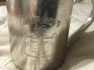 Vintage Smirnoff Vodka Metal Moscow Mule 10 Ounce Cup Coat Of Arms Logo Preowned
