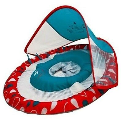 Swimways Baby Spring Float Sun Canopy Swimming Pool Infant Blue Red Whale