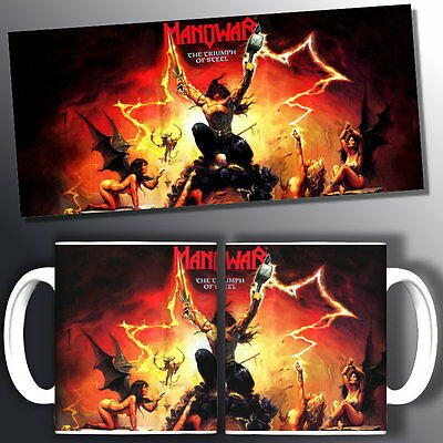 tazza mug music MANOWAR triumph of steel, rock metal scodella ceramica