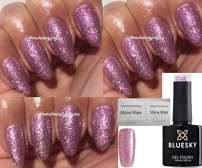 Bluesky Valentines Couture Pink Lilac Silver Glitter Nail Gel Polish Uv Led