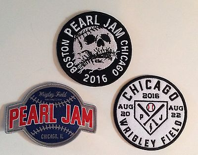 PEARL JAM Chicago WRIGLEY FIELD 3 PATCH SET 2016 Concerts Cubs