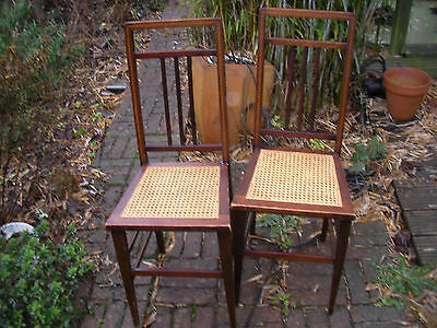 Pair of Mahogany ,Cane and Inlaid frame Chairs