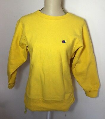 Vintage Champion 1980's Yellow Reverse Weave Sweatshirt Small