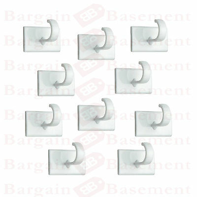 10 x Self Adhesive STICK ON HOOKS Square Plastic Sticky Coat Cup Door Wall WHITE