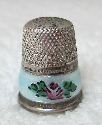Vintage Thimble German Sterling Pink Rose on Blue Guilloche Enameling NICE! M8