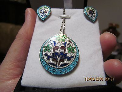 Vintage Sterling Silver Guilloche Enamel Necklace And Earrings Set
