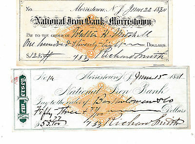 Two Checks  National Iron Bank, Morristown, New Jersey  1880 & 1881   W/revenue