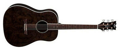 Dean AX DQA TBK Quilted Ash Dread Acoustic Guitar, Trans Black - NEW!