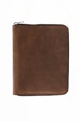 NWT$1045 Brunello Cucinelli Men 100% Leather Suede Logo Stamp Folio Tablet Case
