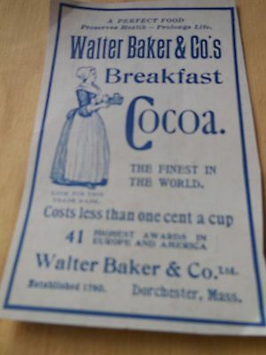 1890's Print Ad for  Walter Baker's Breakfast Cocoa