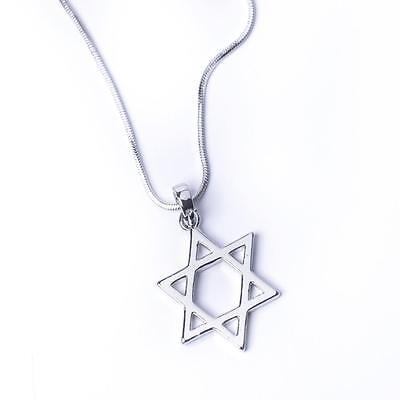 Large Silver Or Gold Star Of David Magen Necklace Jewish Pendant 19 Inch Chain