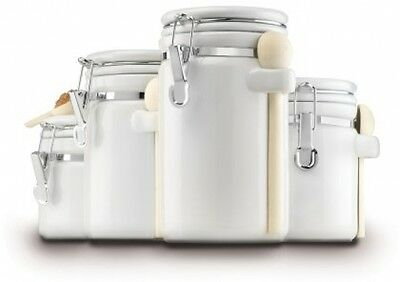 Canister Set Kitchen 4 Piece Ceramic White Countertop Food Storage Air Tight