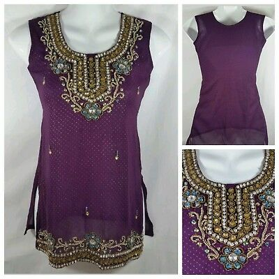 Indian Bollywood Sleeveless Top Kurti Small 28 Jewel Tones Purple Metallic Gold