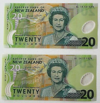 2 x 20 Dollars $20 2013 New Zealand Bills UNC Consecutive Serial Numbers Polymer