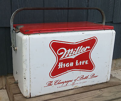 Antique Vintage Retro Red/White Metal Cronstroms Miller High Life Beer Cooler