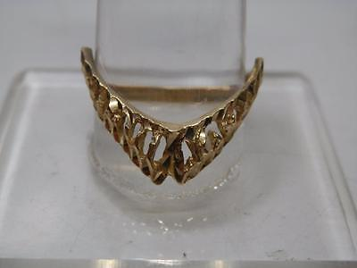 10 kt Gold Slave Ring, Diamond Cuts for Extra Flash!! Size US 8 UK Q