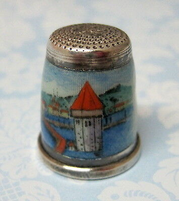 OLD Thimble Sterling Luzern Water Tower Chapel Bridge Guilloche  Enameling M8