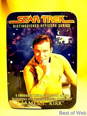 NIB Star Trek (TOS) James T. Kirk 5 Embossed Metal Collector's Cards + Metal Tin