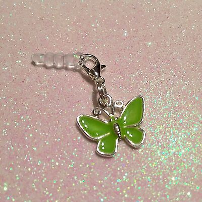 Green Enamel Butterfly Mobile Phone Charm For IPhone,,iPad,Tablet, Dust Plug