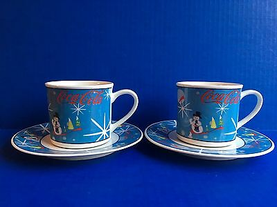 Coca-Cola Laughing Snowman Cup & Saucer Set Of 2