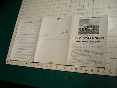 Vintage Paper: 1944 TRAPP FAMILY SINGERS at the MUSIC CAMP Stowe Vt, EARLY PAPER