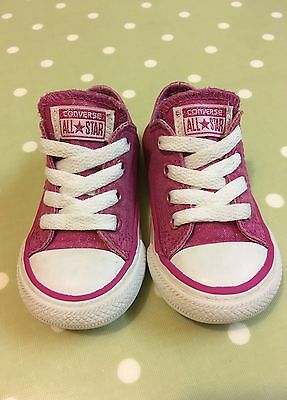 Toddler Girls Glitter Pink Converse Infant Size 5 - EUR 21 Kids Trainers Shoes