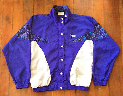 Vintage 90s REEBOK Windbreaker Track Jacket Colorblock Blue Hip Hop Women's M/L