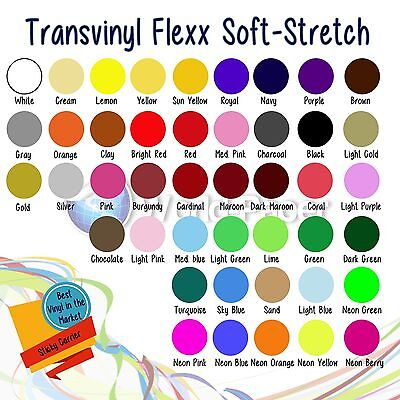 "Heat Transfer Vinyl, 12 x 15"" 12-Color Starter BUNDLE HTV Soft Stretch"