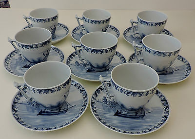 8 Porcelain Coffee Cups with Saucers Blue White Marked