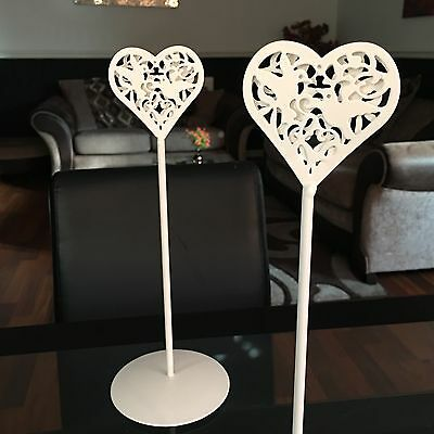 Vintage Enamel Heart wedding Table name place holders Number Display Stand X2