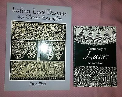 LACE Designs Classic & Examples, A Dictionary of LACE~ Lot of TWO BOOKS
