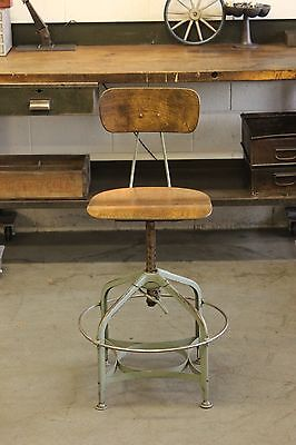 Vintage Industrial Toledo UHL Draftsman Stool Machine Age Chair Factory Mint Grn
