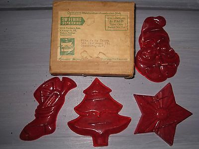VINTAGE 1940's CHRISTMAS COOKIE CUTTER SET 4 CUTTERS IN ORIGINAL BOX
