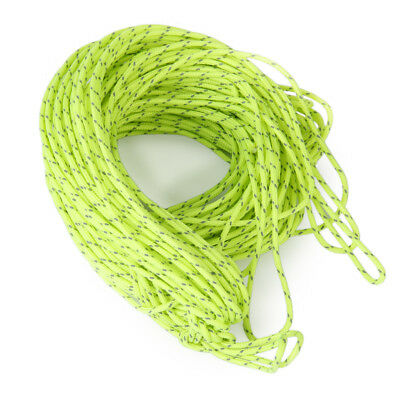 20M Green Reflective Guyline Tent Tarp Rope Guy Line Camping Cord Paracord
