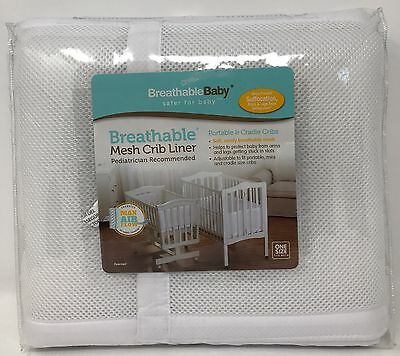 BreathableBaby Breathable Bumper - Portable & Cradle Cribs | White | Ships Free