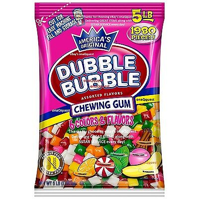 Dubble Bubble 5lb Assorted 6flavr Tab Gum 1980pc bulk vending ford chiclet candy