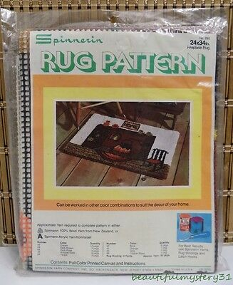 """SPINNERIN VTG RUG PATTERN NO. 293 FIREPLACE RUG 24""""x34"""" LATCH HOOK NEW USA MADE"""