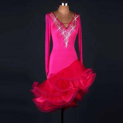 Pink Latin salsa tango Cha cha Samba Rumba Jive Ballroom Evening Dance Dress