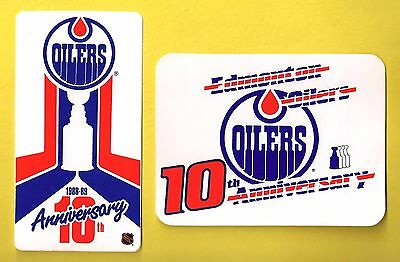 Edmonton Oilers 1988-89 10th Anniversary NHL Decal Stickers Lot of (2)