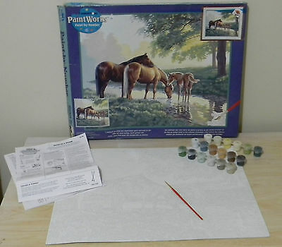 "DIMENSIONS Paint Works Paint By Number Kit ""Horses By A Stream"" 20 by 16 Unused"