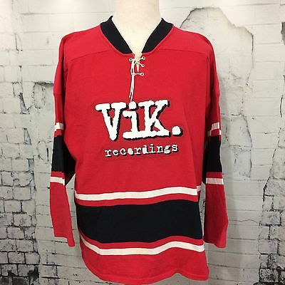 VIK RECORDINGS - Men's Large Promo Jersey Music Collector BMG Red White RARE