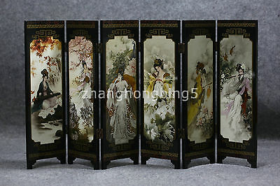 Delicate Chinese Lacquer Handwork Painting * Four Beauties * Screen Decor
