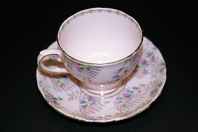Tuscan Fine English Bone China Pink Cup and Saucer gold filigree, purple flowers