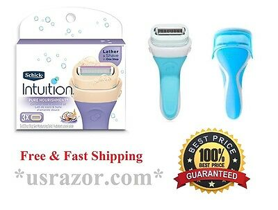 4 Schick intuition Coconut Almond Oil Razor Blades Women Refill Cartridge Shaver