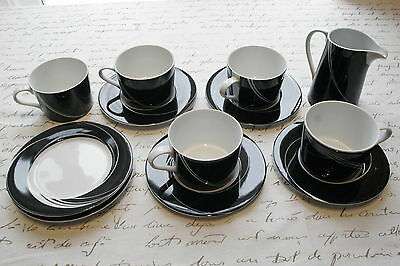 BLOCK SPAL LOT: Jewels Black Pearl set, cups, saucers, plates, creamer MINT!