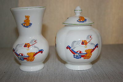 HARRODS 'Rocking Horse Bear' Vase and Covered Dish / Bowl  MINT! New Baby Gift!