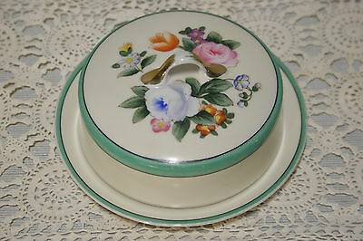 Noritake Vintage Covered Butter Dish Green Band, Floral Center, gold trim Round.